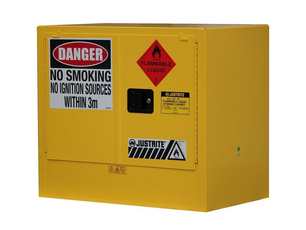 Superior 100LT Flammable Goods Under Bench Storage Cabinet 2 Door 2 Shelves AU25748  | Ritesafe