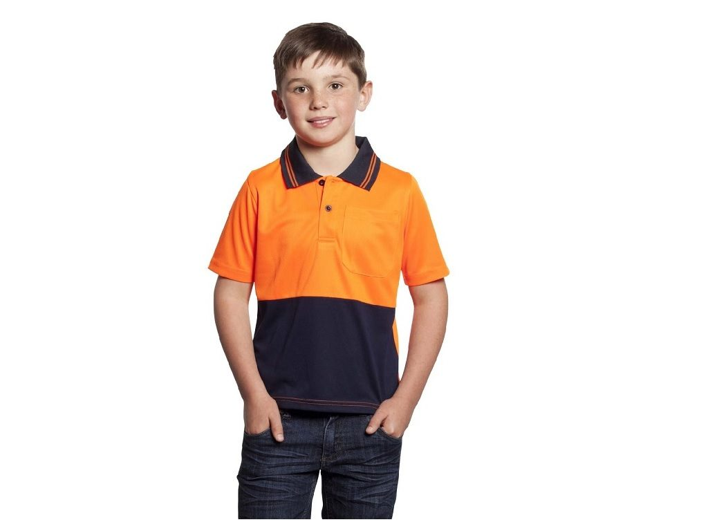 Hi Visibility Kids Polo Orange /Navy