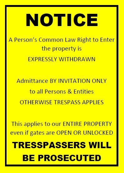 Trespass Signage